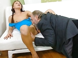 Excited age-old fucker enjoys carnal knowledge involving young hottie
