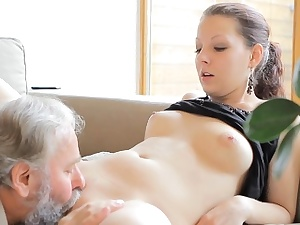 Mouth-watering youthfull hotty slurped by pold man