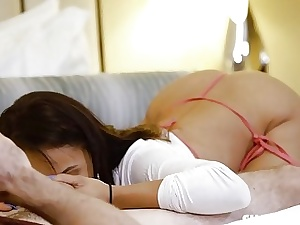 Pretty nubile in g-strings gives head and plows with passion