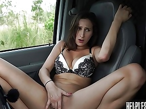 Teenie hitchhiker gets picked up by truck and gets pummeled