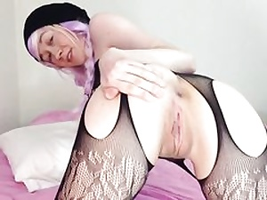 Fat dragon faux-cock gets inwards her sexy ass