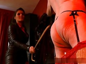 Elder man all bare and ultra-kinky is well-prepped to obey his mistress on video