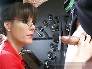 Kinky dominatrix is on her knees prepped to suck his gigantic large cock