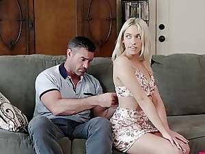 Light-haired nubile fellates daddy's firm manmeat and pummels with him