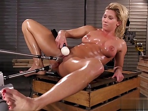 Hot tramp caked in grease jacks with a ample dildo