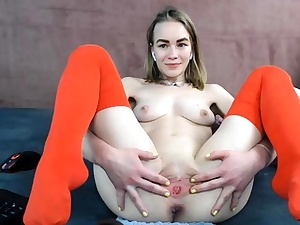 Bony Light-haired Teenage Ass-fuck amp Vaginal Playthings Double penetration